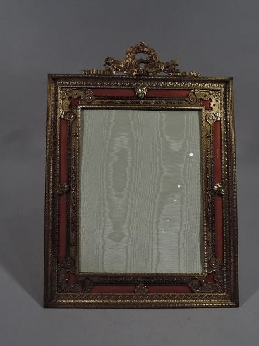 Large French Rococo Gilt Bronze & Pink Guilloche Enamel Picture Frame