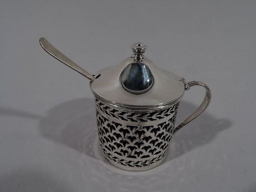 Antique Georgian-Style Sterling Silver Mustard Pot with Spoon