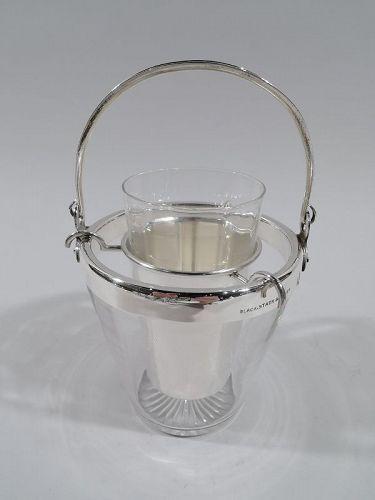 American Modern Craftsman Sterling Silver & Glass Caviar Bucket Bowl
