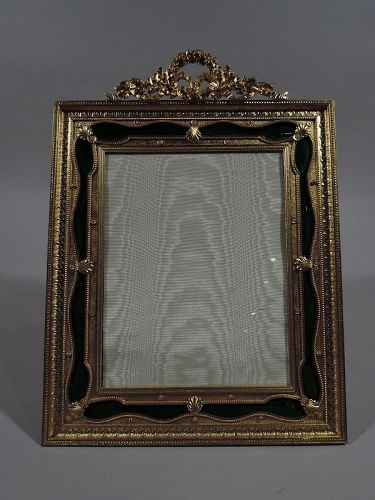 French Rococo Gilt Bronze and Green Guilloche Enamel Picture Frame