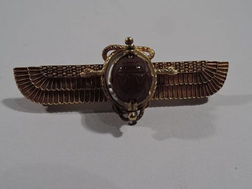 Antique Egyptian-Revival 18K Gold Winged Sun Brooch with Scarab