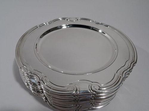 12 Tiffany Art Deco Sterling Silver Bread & Butter Plates in Castilian