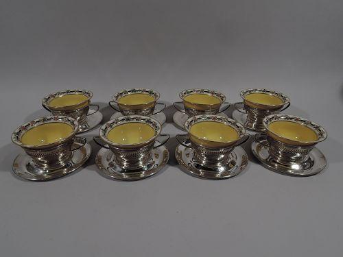 Set of 8 Antique Gorham Bouillon Soup Holders & Lenox Bowls 1919