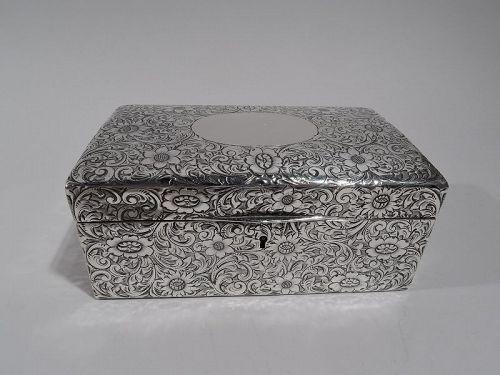 Antique American Art Nouveau Sterling Silver Jewelry Casket Box