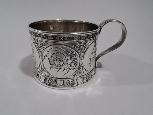 Antique American Aesthetic Sterling Silver Baby Cup by Gorham 1883