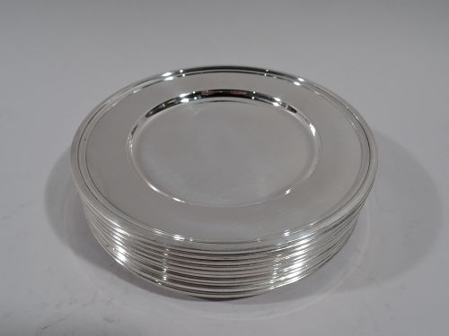 Set of 10 Tiffany Modern Sterling Silver Bread & Butter Plates