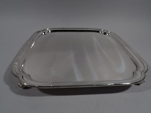Large and Heavy Traditional English Sterling Silver Salver Tray 1946