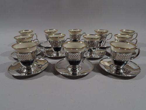 Set of 12 Tiffany Edwardian Demi-Tasse Coffee Holders & Lenox Liners