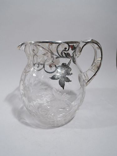 Pretty American Art Nouveau Silver Overlay Water Pitcher