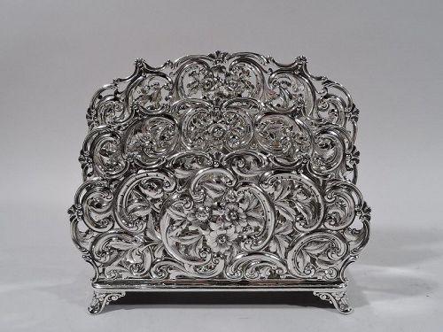 Large Antique American Art Nouveau Sterling Silver Letter Rack