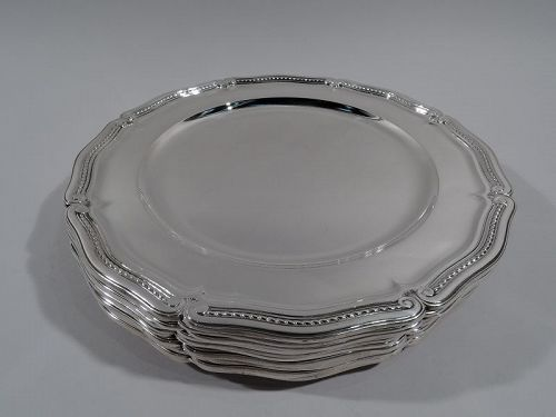 Set of 12 Antique Tiffany Classical Sterling Silver Dinner Plates