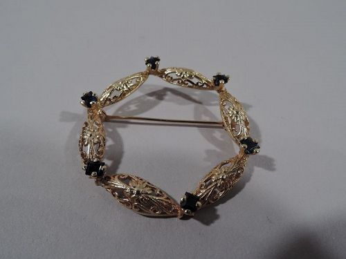 Lovely American 14K Gold & Sapphire Wreath Pin