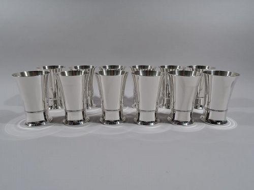 Set of 12 Tiffany American Art Deco Sterling Silver Highballs