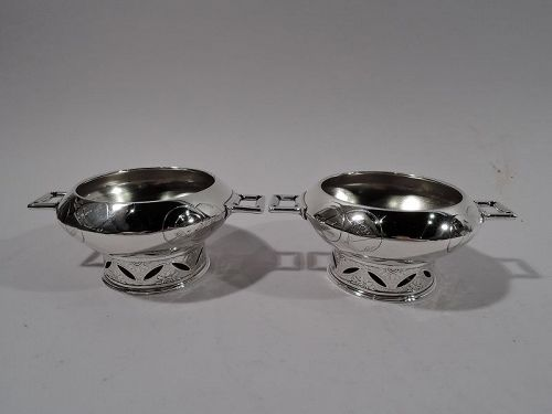 Pair of Tiffany Japonesque Open Salts with Early Union Square Mark