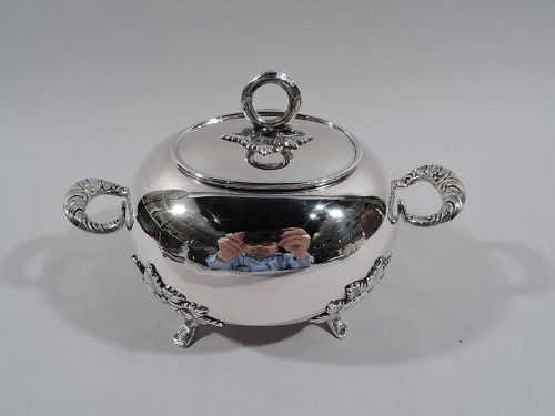 Sweet and Pretty Antique Russian Silver Box with Naïve Roses