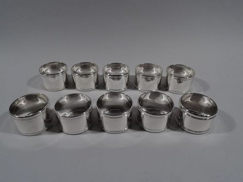 Set of 10 Tiffany Midcentury Modern Sterling Silver Napkin Rings
