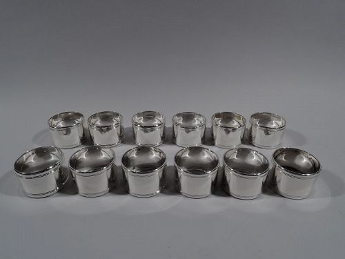 Set of 12 Tiffany Midcentury Modern Sterling Silver Napkin Rings