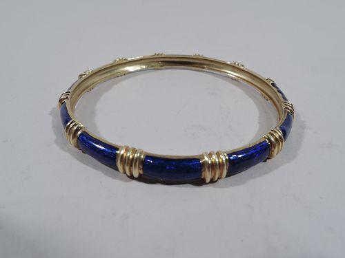 Cartier American 18K Yellow Gold & Blue Enamel Bangle