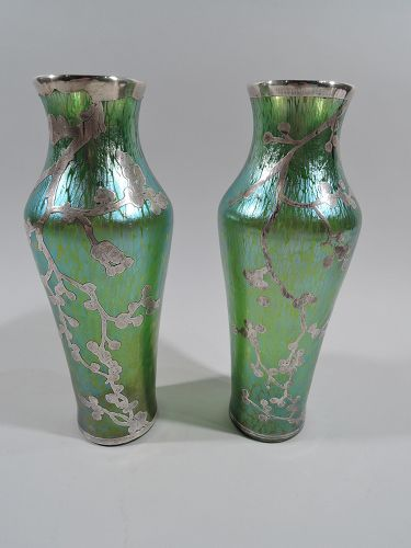 Pair of Loetz Green Art Glass Vases with Japonesque Silver Overlay