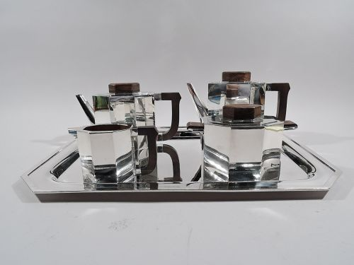 Wonderful French Art Deco 950 Silver Coffee and Tea Set on Tray
