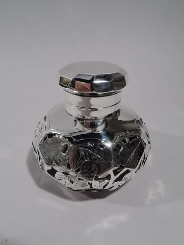 Antique American Art Nouveau Purple Silver Overlay Inkwell
