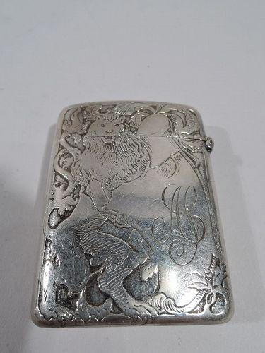 American Art Nouveau Sterling Silver Match Safe by Kerr