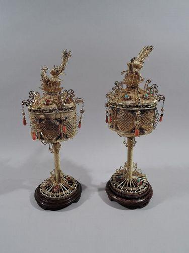 Pair of Antique Chinese Silver Gilt, Hardstone & Enamel Lanterns