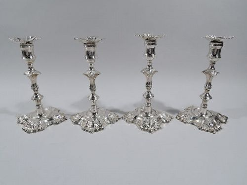 Set of 4 English Georgian Sterling Silver Candlesticks 1748