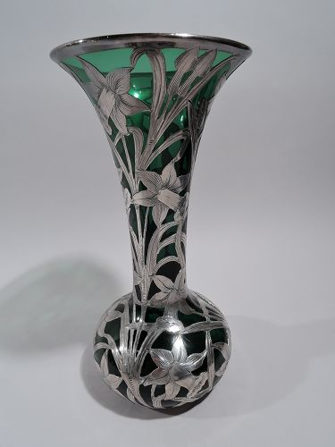 Alvin Art Nouveau Green Glass Vase with Daffodil Silver Overlay