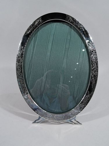 Large Antique American Art Nouveau Sterling Silver Oval Picture Frame