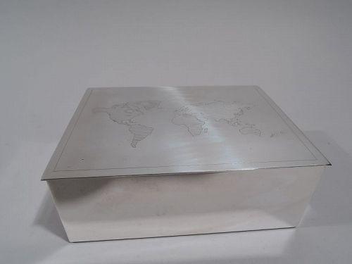 Tiffany Modern Sterling Silver Desk Box with World Map