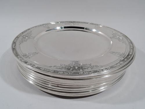 Set of 12 Gorham Cinderella Sterling Silver Dinner Plates Chargers