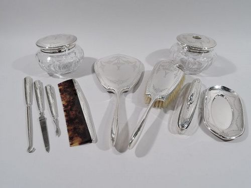 Antique American Edwardian Sterling Silver Vanity Set by La Pierre