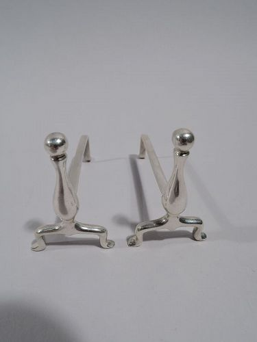 Pair of American Colonial Revival Sterling Silver Andiron Knife Rests