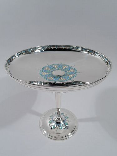 Tiffany American Art Deco Sterling Silver & Enamel Compote