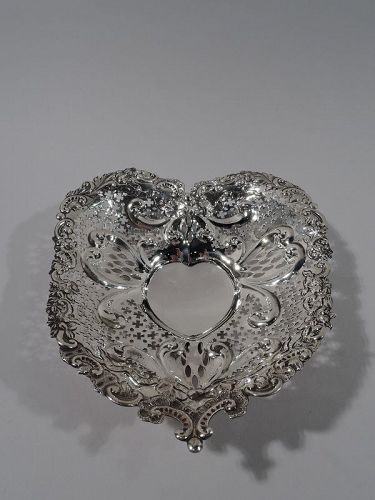 Antique Gorham Victorian Sterling Silver Heart Bowl 1895