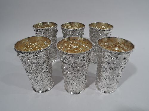 Set of 6 Baltimore Repousse Sterling Silver Highball Mint Juleps