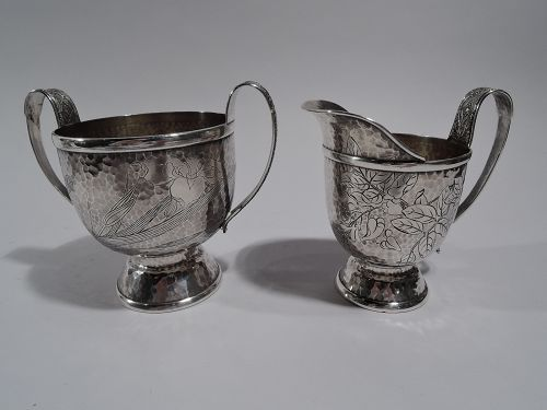 Tiffany Hand Hammered Japonesque Creamer and Sugar in Persian Pattern