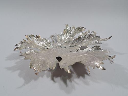 Buccellati Large Sterling Silver Figural Maple Leaf Dish