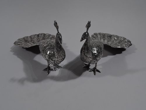 Pair of Antique German Silver Peacock Dishes