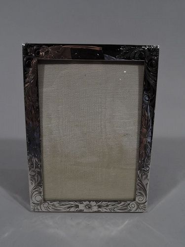 Pretty Antique American Art Nouveau Sterling Silver Picture Frame