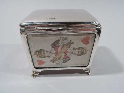 Antique English Victorian Sterling Silver Playing Cards Box 1899