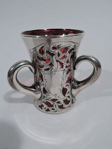 Sweet & Small Antique Red Silver Overlay Loving Cup Bud Vase