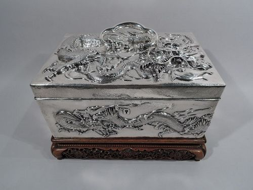 Massive Antique Japanese Silver Jewel Casket with Guardian Dragons