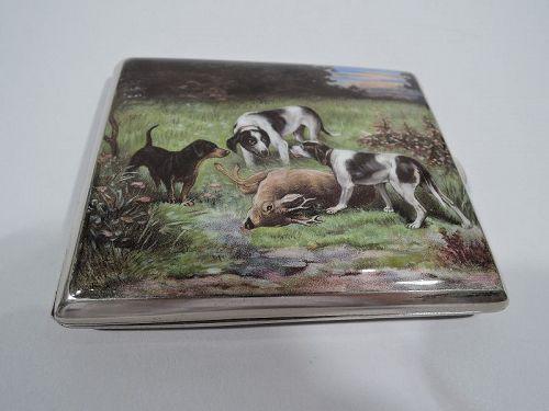 Antique Enameled Hunt-Themed Cigarette Case with Hounds and Elk