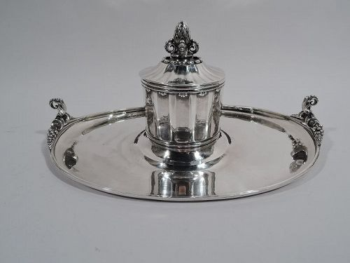 Large & Early Georg Jensen Hand Hammered Sterling Silver Inkstand