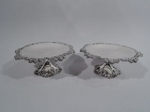 Pair of Antique Tiffany Clover Sterling Silver Compotes