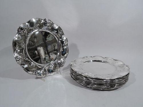 Set of 12 Fine Gorham Martelé Art Nouveau Silver Dinner Plate Chargers