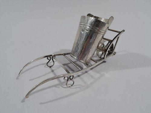 Antique Austrian Silver Figural Pushcart Match Holder 1860