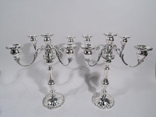 Pair of Gorham Chantilly Sterling Silver 5-Light Candelabra